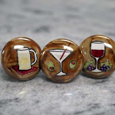 beer, martini or wine hand painted ceramic cabinet knob
