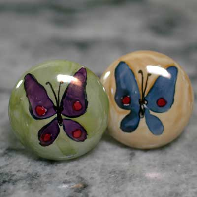 butterfly hand painted ceramic cabinet knob