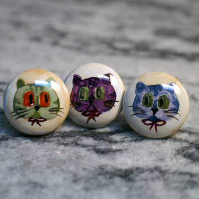 cat hand painted ceramic cabinet knob