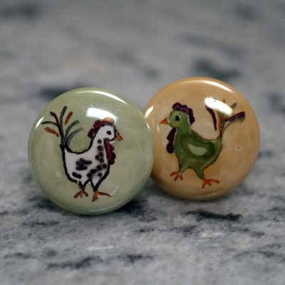chicken and rooster hand painted ceramic cabinet knob