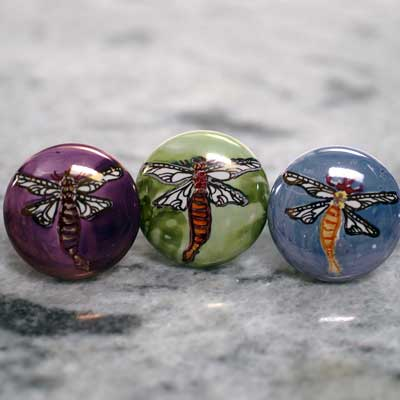 hand painted dragonfly ceramic cabinet  knob