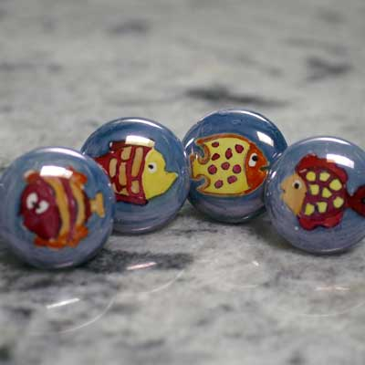 hand painted fish ceramic cabinet  knob