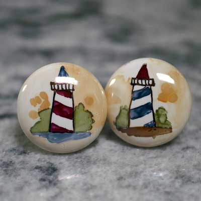 lighthouse hand painted ceramic cabinet knob