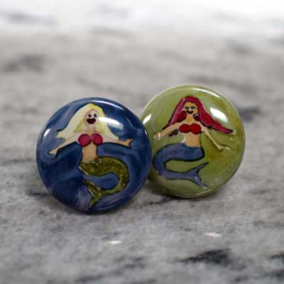 mermaid hand painted ceramic cabinet knob