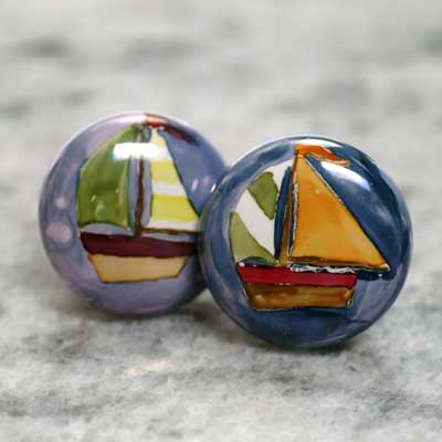 sailboat hand painted ceramic cabinet knob