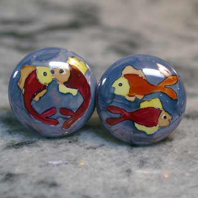 fish hand painted ceramic cabinet knob
