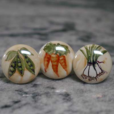 fruit and vegetable hand painted ceramic cabinet knob