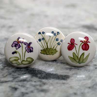 wildflower violet, bluet or ladyslipper hand painted ceramic cabinet knob