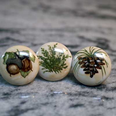 woodland  pinecone or fern hand painted ceramic cabinet knob