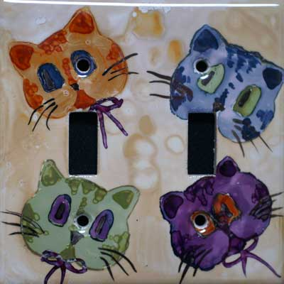 cat hand painted switch plate cover
