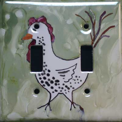 chicken hand painted switch plate cover