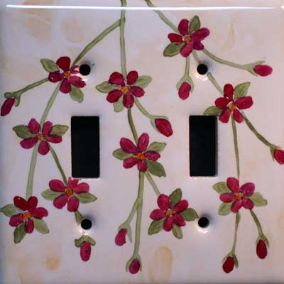 daisy flower hand painted switch plate cover
