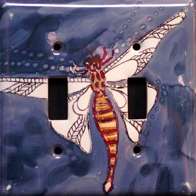 dragonfly hand painted switch plate cover