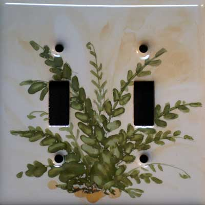 fern woodland hand painted switch plate cover