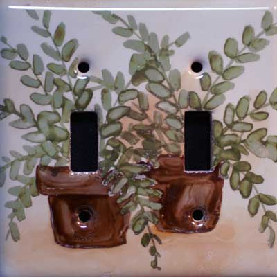 Fern in pot hand painted switch plate