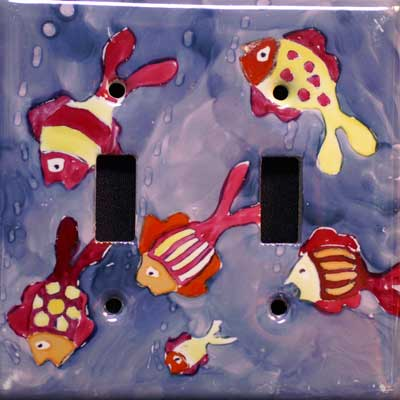ocean fish hand painted switch plate cover