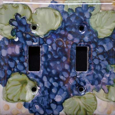 hydrangea flower hand painted switch plate cover