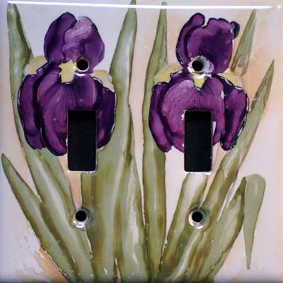 iris flower hand painted switch plate cover