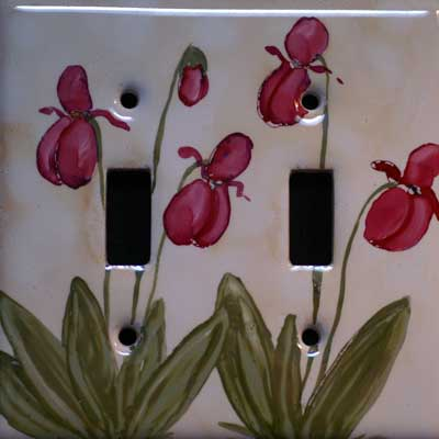 lady slipper flower hand painted switch plate
