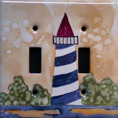 nautical light house hand painted switch plate