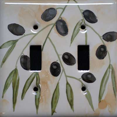 tuscun olive hand painted switch plate cover