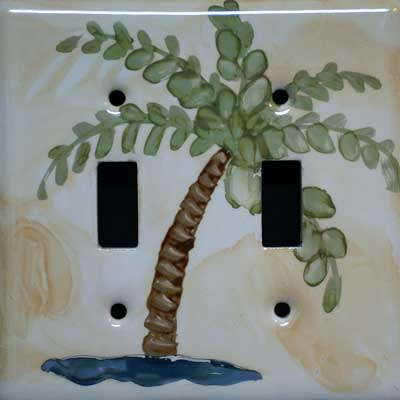 palm tree hand painted switch plate