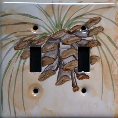 pinecone woodland hand painted switch plate cover