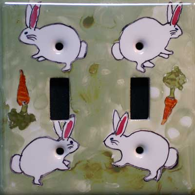 rabbit hand painted switch plate cover