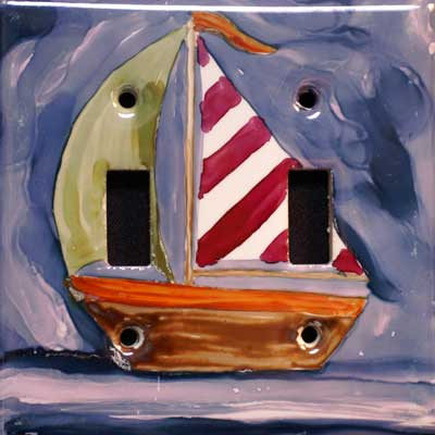 nautical sailboat hand painted switch plate cover