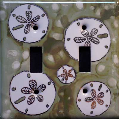 ocean sand dollar hand painted switch plate