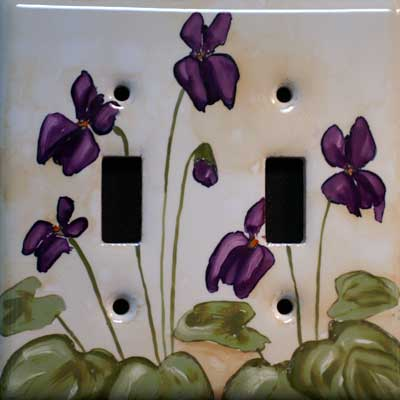 violet flower hand painted switch plate cover