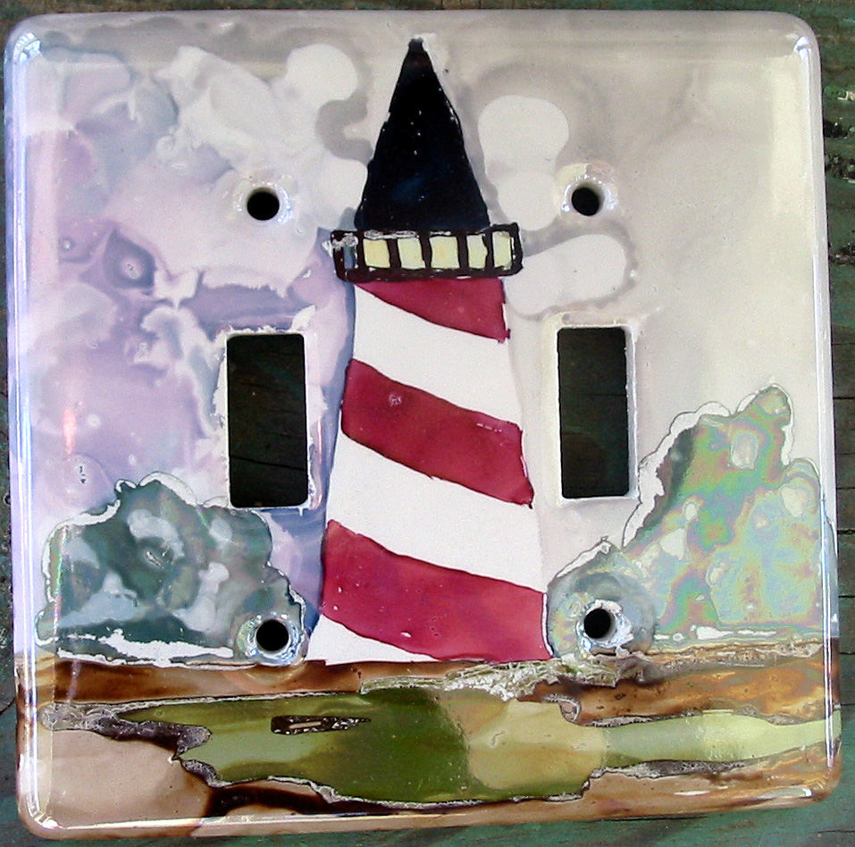 Hand painted switch plates betty baumann studios for Lighthouse switch plates